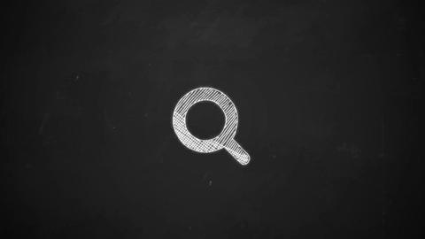 hand drawing line art showing magnifying glass symbol with white chalk on Animation