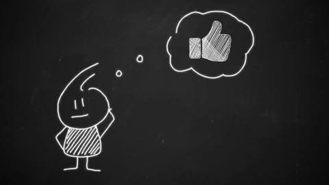 thinking stick man with animated LIKE button on black chalkboard thumb up Animation