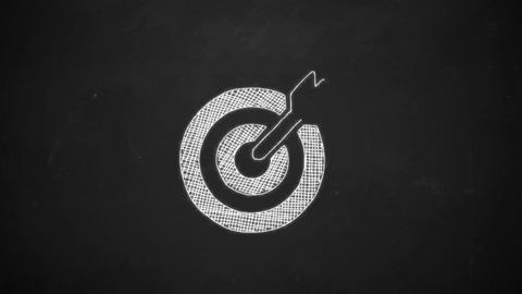 hand drawing line art showing dart symbol with white chalk on blackboard goal Animation