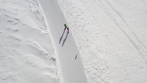 Snowboarders on Slope Ready to drop in Fresh Powder Snow Stock Video Footage