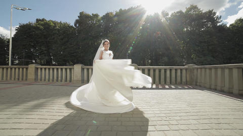 Beautiful and lovely bride in wedding dress and veil in sunbeams. Slow motion Live Action