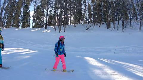 Happy Couple Snowboardist have fun on Fresh Powder Snow Footage