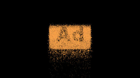 Symbol Ad - Advertisement appears from crumbling sand. Then crumbles down. Alpha channel Animation