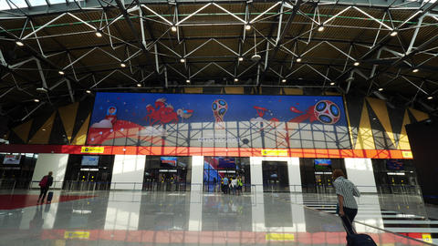 Russia 2018 FIFA World Cup banner over the gates in Sheremetyevo Airport, Moscow Live Action