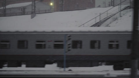 Traveling by train on dull winter day Footage