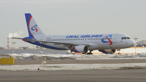Ural Airlines A320 on the runway Live Action