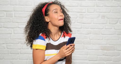Happy Euphoric Girl Woman Reading Good News On Mobile Telephone GIF