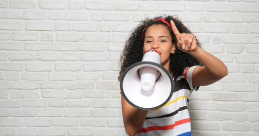 Girl Shouting Screaming Yelling With Megaphone For Promotion Advertising Happiness Footage