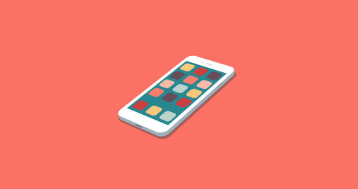 flat smartphone with app icons set motion background Live Action