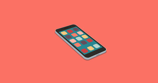 flat smartphone with app icons set motion background Footage