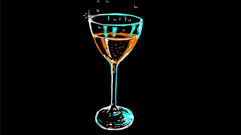 Champagne Glass Bubble Drawing 2D Animation Animación
