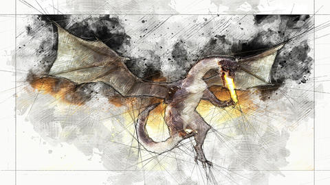 Digital Animation of an artistic Sketch, based on a self-created 3D Illustration of a Dragon, Animation