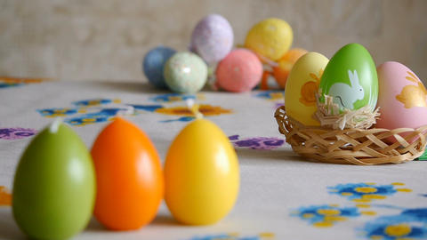 Candles made in shape of easter egg. Green, orange, yellow. Easter eggs candles Footage