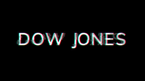 From the Glitch effect arises World stock index DOW JONES. Then the TV turns off. Alpha channel Animation