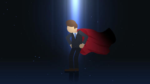 Superhero standing in spotlight. Business symbol. Leadership and Achievement concept. Comic loop Animation
