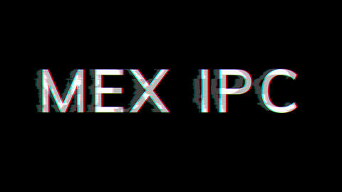 From the Glitch effect arises World stock index MEX IPC. Then the TV turns off. Alpha channel Animation