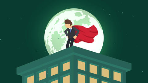 Superhero in moonlight city. Standing over skyscraper. Business symbol. Leadership and Challenge Animation
