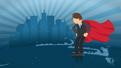Superhero standing on city background. Near a cloud of dust. Business symbol. Leadership and Animation