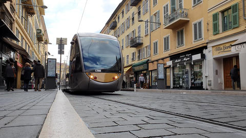 Tram Departs From Station In Nice France Footage