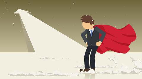 Arrow graph up. Superhero standing near a cloud of dust. Business symbol. Leadership and Challenge Animation