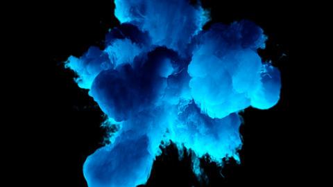 Blue Color Burst colorful smoke powder explosion fluid ink particles alpha matte Animation