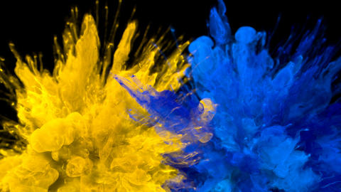 Yellow Blue Color Burst Multiple colorful smoke explosions fluid particles alpha Animation