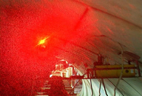 LASER Light, guide for the subway drill tunnel Footage