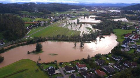 Aerial - Flooded urban landscape Footage