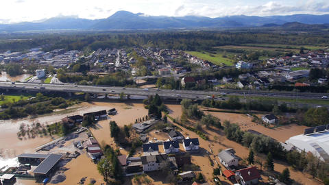 Aerial - 180° view of environmental damage by flooding. Natural disaster Footage