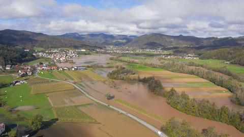 Aerial - Environmental damage by flooding. Natural disaster Footage