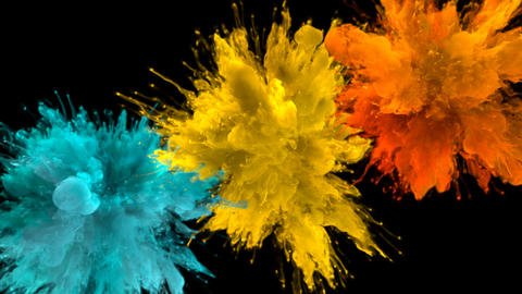 Cyan Yellow Orange Color Burst - Multiple colorful smoke explosions fluid alpha Animation