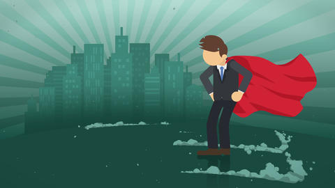 Superhero standing on city background. Near a cloud of dust. Business symbol. Leadership and Animación