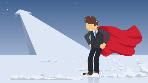 Arrow graph up. Superhero standing near a cloud of dust. Business symbol. Leadership and Challenge Animación