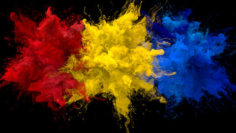 Red Yellow Blue Color Burst Multiple colorful smoke explosions fluid alpha matte Animation