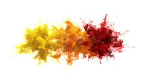 Yellow Orange Red Color Burst - Multiple colorful smoke explosions fluid alpha Animation