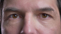 Cloesup shoot of adult attractive caucasian man face with brown eyes looking Footage