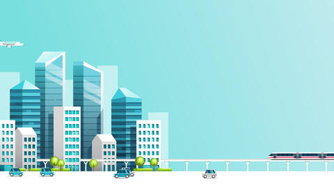 Smart city animation with car , train , building and sky.Growth town concept video.Motion graphic Animation