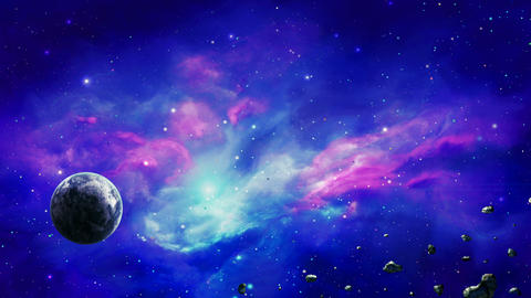 Space scene. Planet in colorful nebula with asteroids. Elements furnished by NASA. 3D rendering Animación
