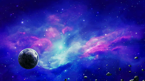 [alt video] Space scene. Planet in colorful nebula with asteroids.…