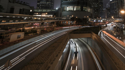 Timelapse of lights streak traffic in night city Archivo