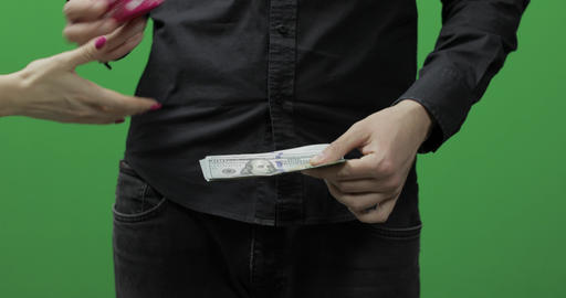 Counting money green screen. Give money cash, receive gift concept Live Action