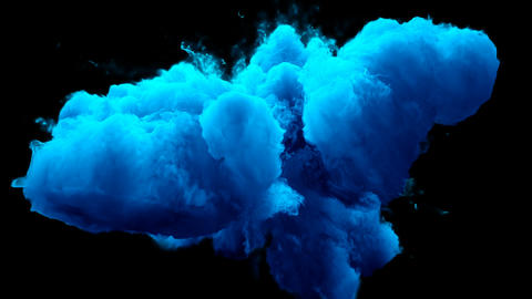 Blue Color Burst colorful smoke powder explosion fluid ink particles alpha matte Animation