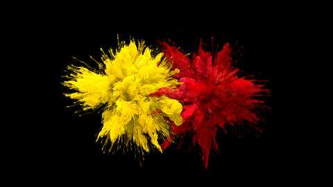 Yellow Red Color Burst Multiple colorful smoke explosions…, Stock Animation