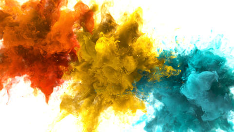 Orange Yellow Cyan Color Burst - Multiple colorful smoke explosions fluid alpha Animation
