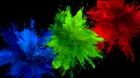 Blue Green Red Color Burst Multiple colorful smoke…, Stock Animation