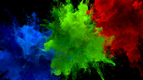 Blue Green Red Color Burst Multiple colorful smoke explosions fluid alpha matte Animation