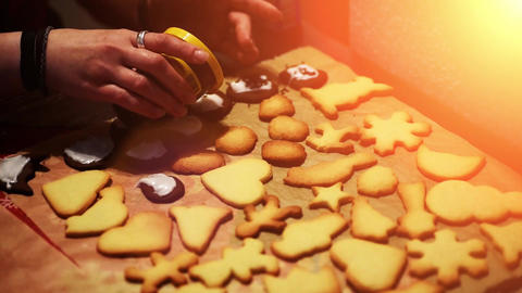 baking christmas cookies - xmas bakery - festive winter... Stock Video Footage