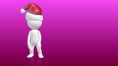 3D Human character with christmas hat pointing to empty placeholder Animation