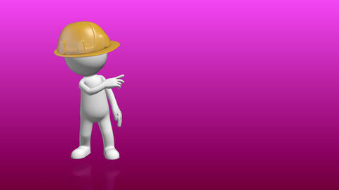 3D Human character with constructor hat pointing to empty placeholder Animation