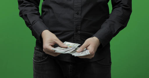 Counting money green screen. Get money cash, receive payment concept Live Action